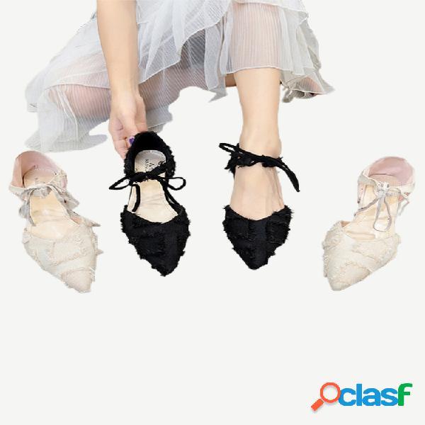 Nuevos zapatos de mujer moda gruesos con correas puntiagudas zapatos individuales zapatos de tacón de gamuza resistentes al desgaste