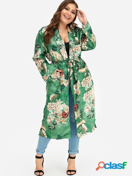 Talla grande con estampado floral y lazo auto-estilo kimono