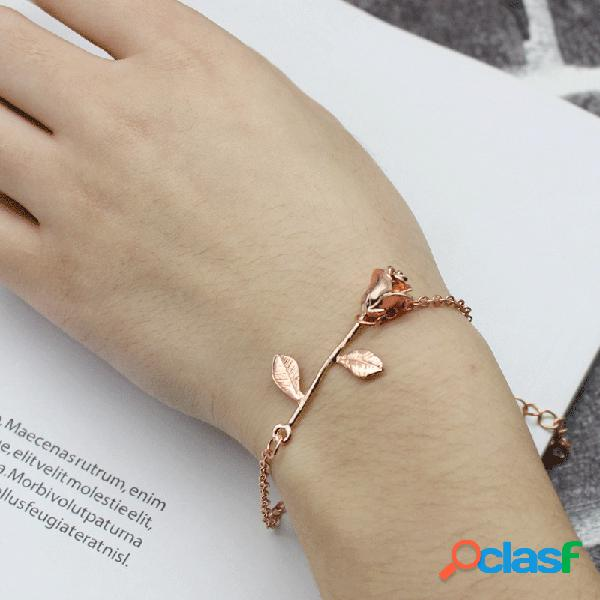 Moda rose gold plated rose flower chain pulseras de oro rosa mujer mejor regalo