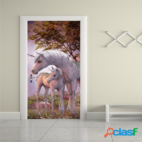 200x77cm 3d unicorn pvc autoadhesivo puerta etiqueta de la pared decoración de la sala de estar