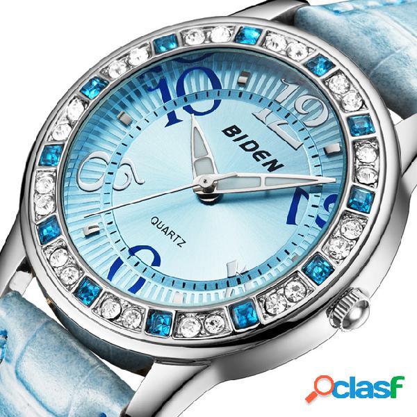 Classic cristal mujer reloj de pulsera correa de cuero reloj casual de cuarzo