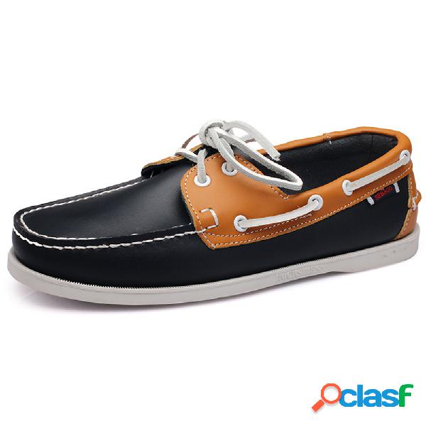 Hombres classic piel genuina zapatos cómodos sin cordones barco