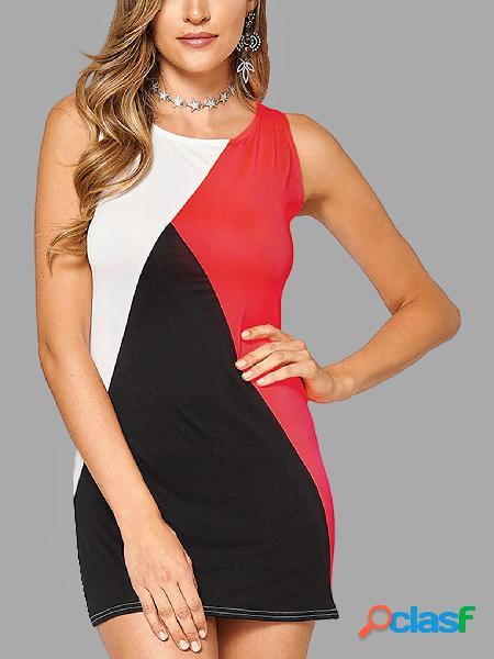 Sin mangas de diseño de cuello redondo color contraste vestido mini