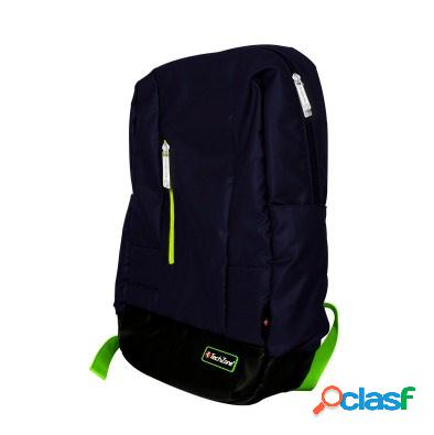 Tech zone mochila de nílon para laptop de 15.6'' negro/azul, resistente al agua