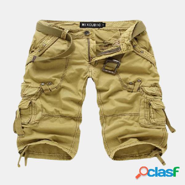 Pantalones cortos de bolsillo multiusos al aire libre para hombre pantalones cortos de algodón hasta la rodilla ocasionales de color sólido