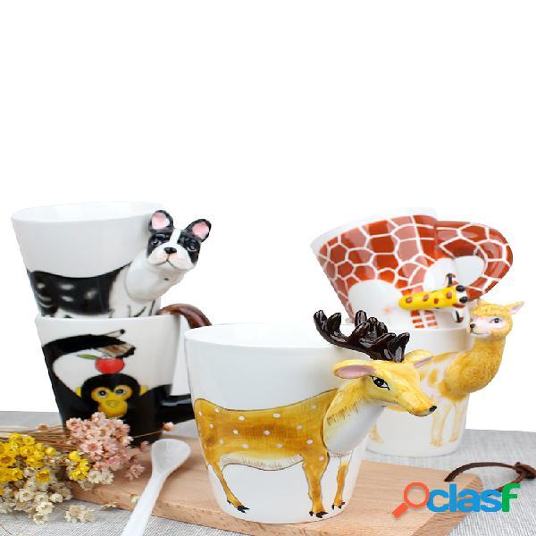 Taza de cerámica 3d animales de dibujos animados diseño taza de café duradera