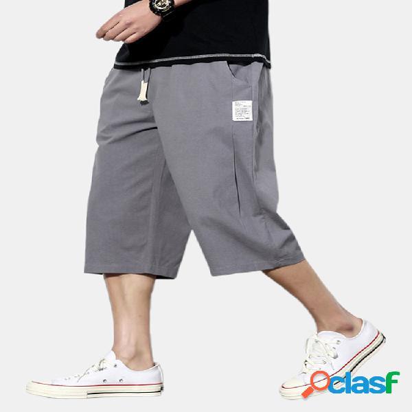 Pantalones cortos sueltos casuales hasta la pantorrilla étnicos de 4 colores de lino de algodón 95% para hombre