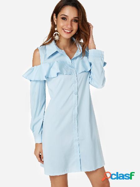 Vestidos de camisa con vuelo y volante fruncido en azul celeste