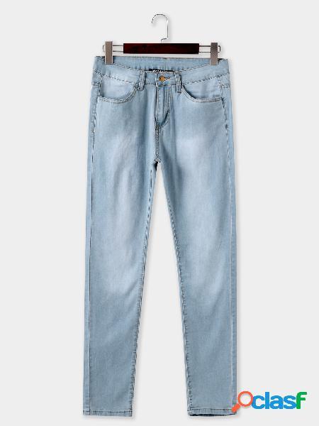 Vaqueros ajustados de cintura media lisos azul cielo