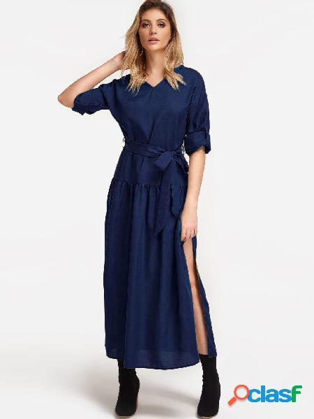 Vestidos de fiesta maxi con hendidura y escote en v con cuello en v azul marino con cinturón