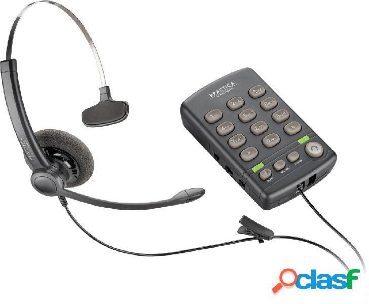Poly teléfono practica t110 con auricular, alámbrico, negro