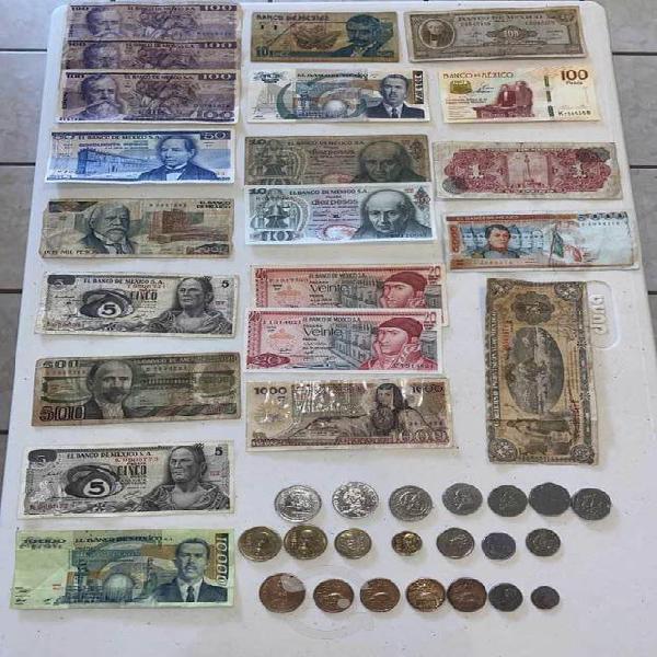 Colección de billetes y monedas mexicanas