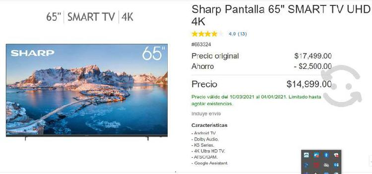 Pantalla sharp 65 pulgadas 4k ultra hd android tv
