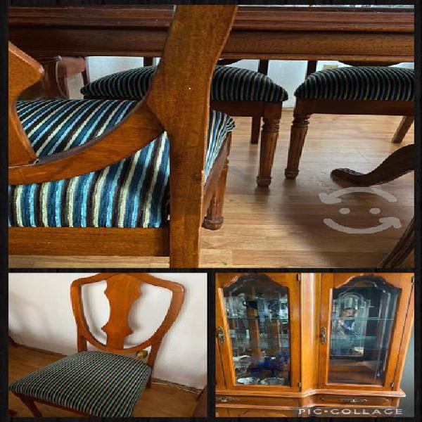 Comedor de madera estilo provenzal con 6 sillas