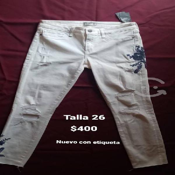 Pantalón abercrombie & fitch blanco con bordado