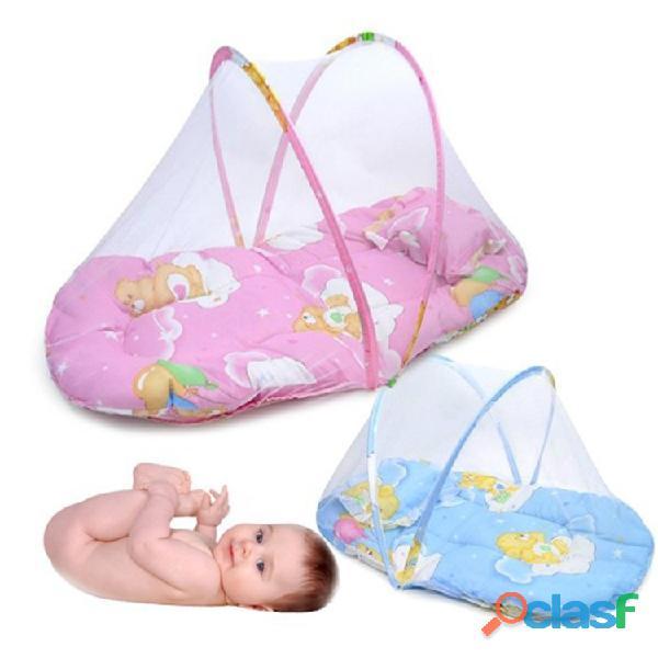 Cuna de bebé plegable portátil primavera verano con mosquitera 1