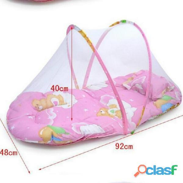Cuna de bebé plegable portátil primavera verano con mosquitera 4