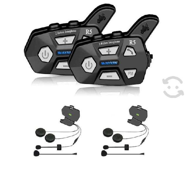 Intercomunicador casco moto 2pz negro microfono