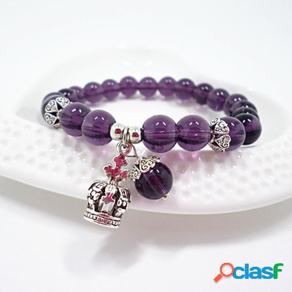 Trendy crown pendant pulseras de amatista natural crystal black beads pulseras de ágata para mujer
