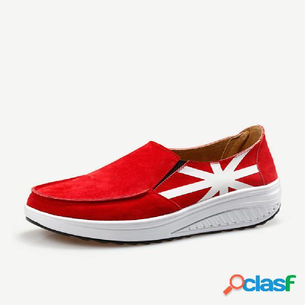 Cuero transpirable al aire libre zapatos de swing informales con plataforma sin cordones