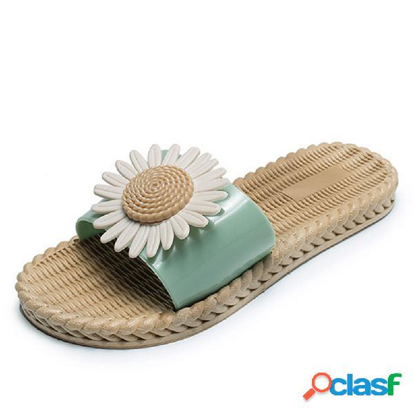 Verano sandalias flor plana antideslizante para mujer soft suela zapatillas