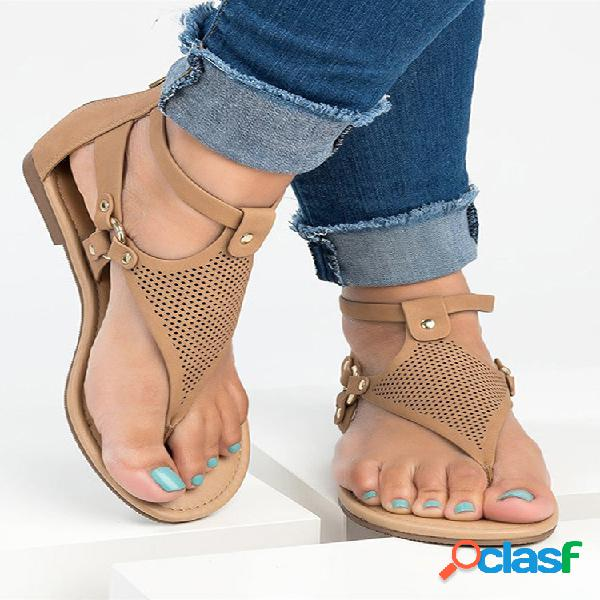Talla grande mujer punta con clip de cremallera casual con tiras sandalias