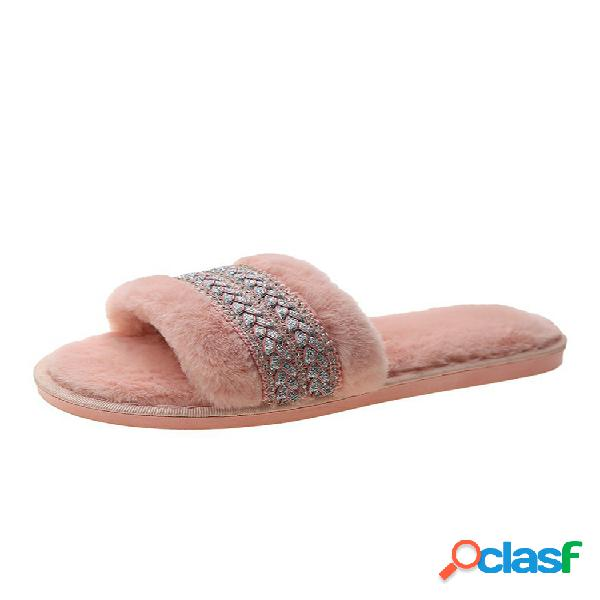 Mujer sweet weave decor comfy soft plush furry falt zapatillas