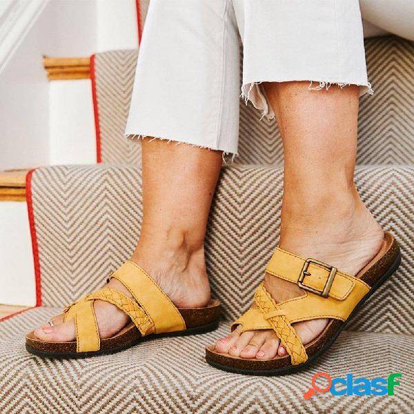 Tamaño grande mujer hebilla de punta de clip trenzada cómoda informal plana zapatillas