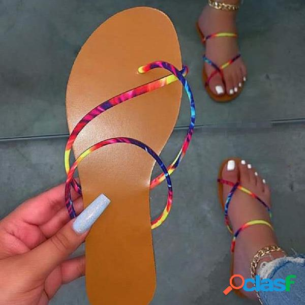 Mujer colorful correa cómoda clip toe playa sliders zapatillas