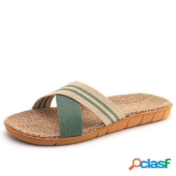 Tamaño grande mujer cómodo playa punta abierta cruzada plana zapatillas
