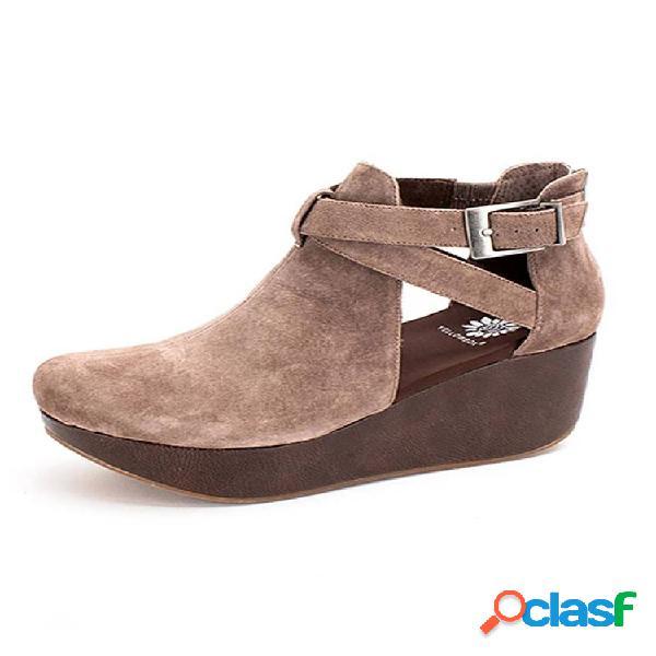 Cuñas de plataforma casual con hebilla cómoda y cómoda para mujer sandalias