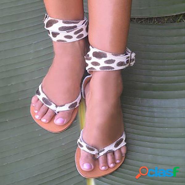 Talla grande mujer leopardo patrón correa de tobillo con hebilla de chanclas anti resbalón sandalias