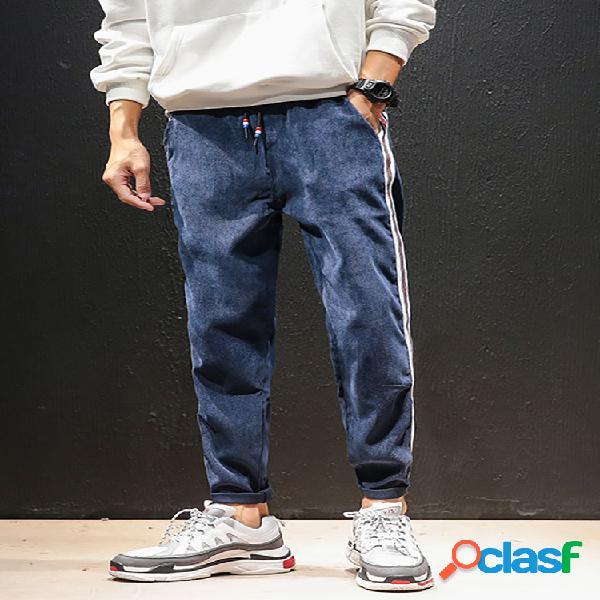 Pantalón de pana con cordones en la cintura para hombre