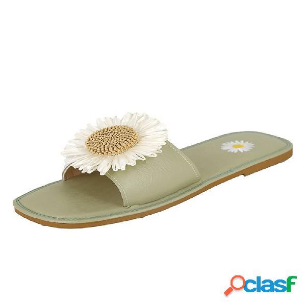 Diapositiva de punta cuadrada con flor informal para mujer zapatillas