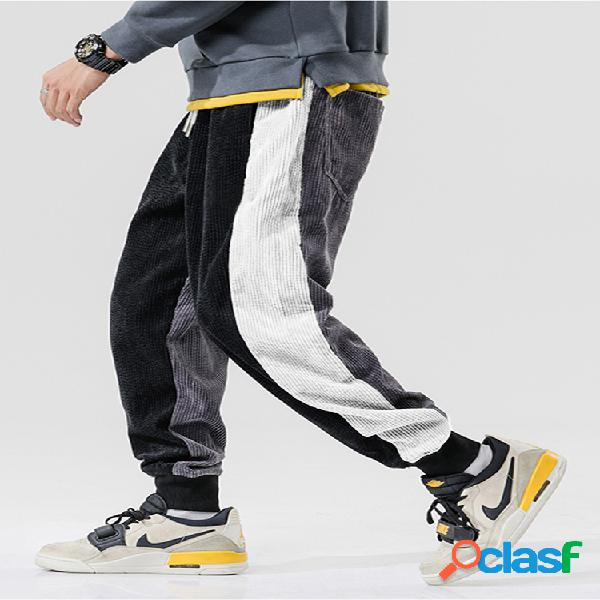 Pantalón de chándal de cintura media con cordón de pana con rayas laterales para hombre pantalones