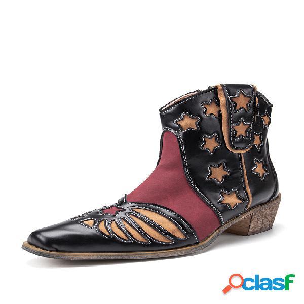 Plus tamaño retro empalme punta puntiaguda cremallera lateral tobillo vaquero botas para mujer