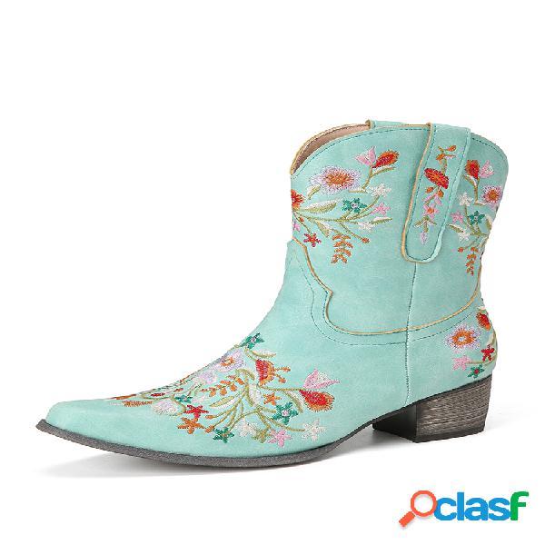 Tamaño grande mujer retro bordado con punta puntiaguda tacón grueso vaquero botas