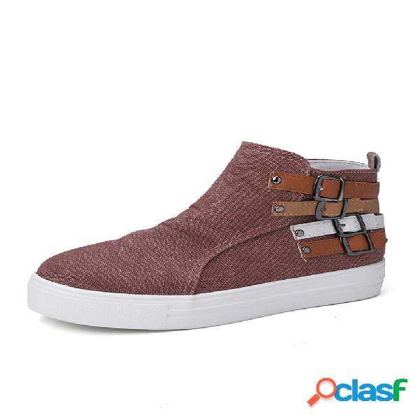 Zapatos casuales de caña alta con cremallera lateral y hebilla de moda cómoda para mujer