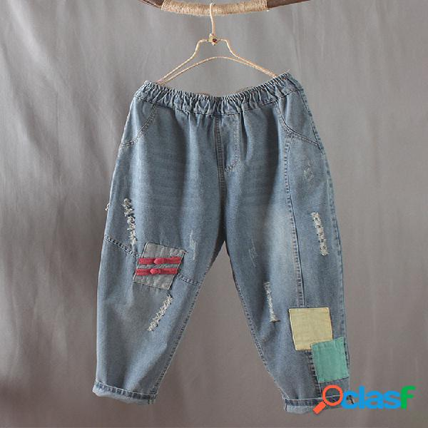 Patchwork elastic waist frog button harem jeans para mujer