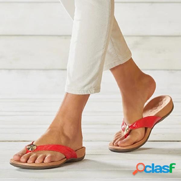 Mujer chanclas cómodas de color sólido playa zapatillas