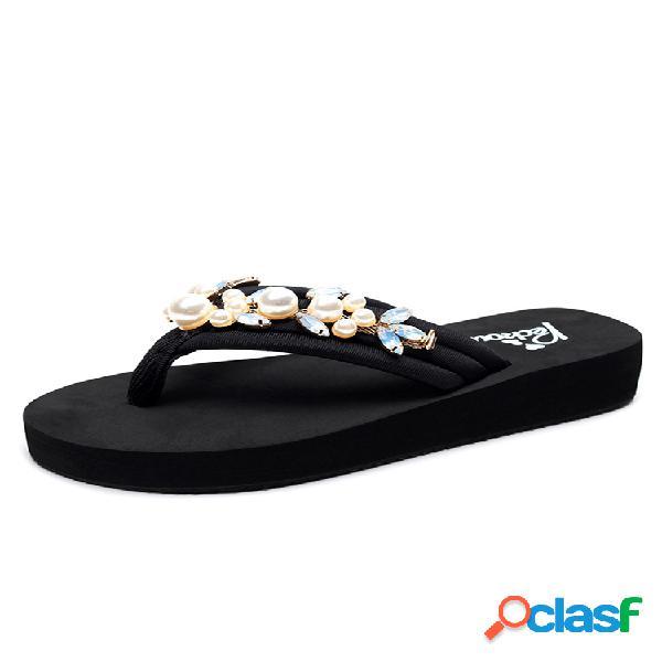 Mujer faux pearl decor lightweight clip toe playa diapositivas zapatillas