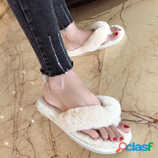 Soft zapatos con suela peluda antideslizantes para el hogar mujer al aire libre zapatillas chanclas