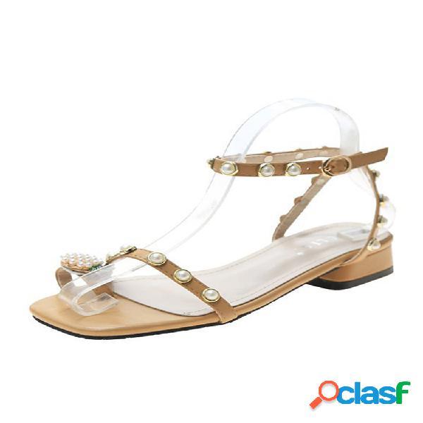 Anillo de dedo de piña con perla sintética para mujer, cómoda correa con hebilla sandalias