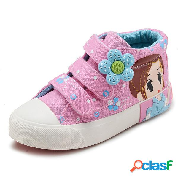 Lona de las muchachas de la historieta de la decoración floral del lazo del gancho zapatos casuales encantadores