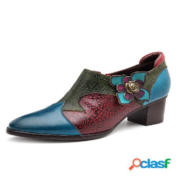Socofy vendimia empalme floral pintado a mano patrón cremallera de tacón medio piel genuina zapatos de salón