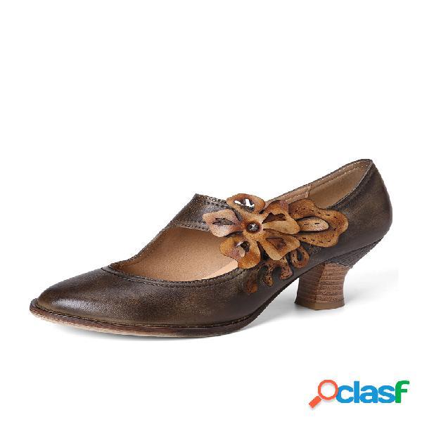 Socofy retro autumn style marchito floral piel genuina zapatos cómodos