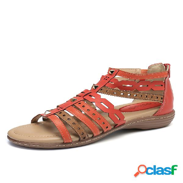 Mujer rome hollow colorful zipper gladiator sandalias