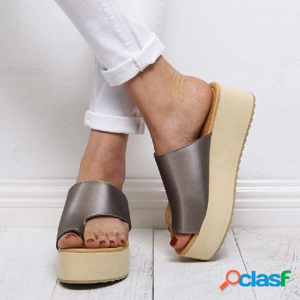 Mujer casual usable playa anillo de dedo del pie casual plataforma correctora de juanetes ortopédica zapatillas