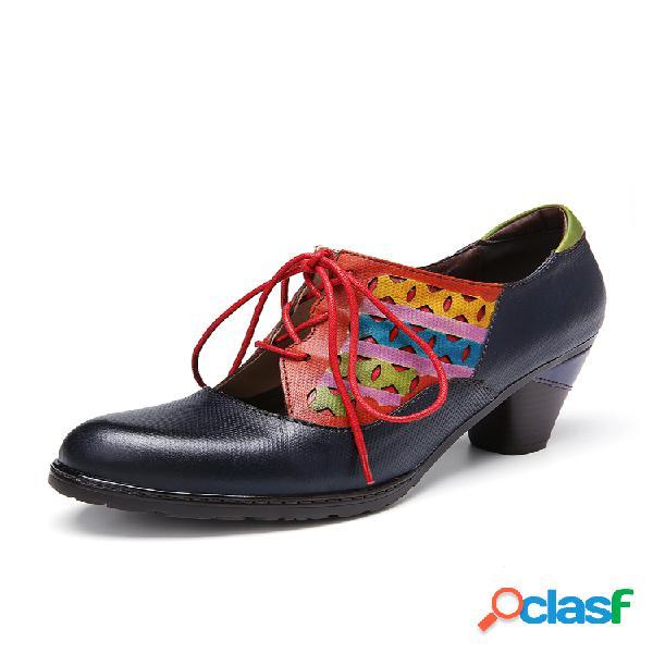 Socofy zapatos de tacón grueso con cordones y corte de empalme en contraste de cuero vestido zapatos