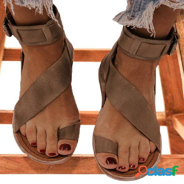 Mujeres retro antideslizante anillo dedo del pie cremallera trasera casual sandalias
